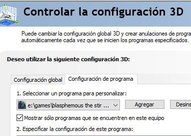 Configuración de programa
