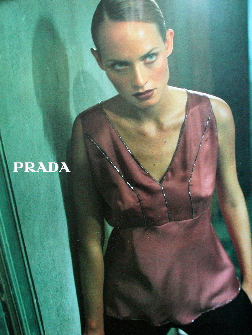 Amber Valletta photographed by Glen Luchford for Prada Fall/Winter 1997 campaign