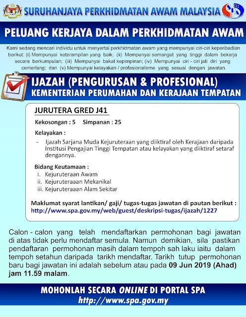 Permohonan Jawatan Kosong Jurutera J41 2019