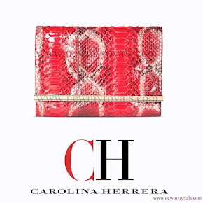 Queen Letizia carried Carolina Herrera Animal Print Clutch Bag in red
