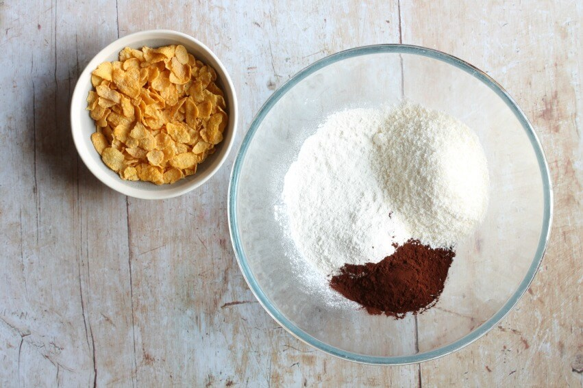 Ingredients for chocolate cornflake slice