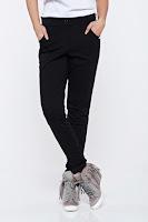 Pantaloni PrettyGirl negri casual cu buzunare cu talie medie • PrettyGirl