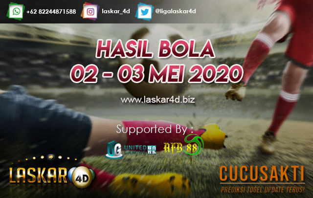 HASIL BOLA JITU TANGGAL 02 – 03 MEI 2020
