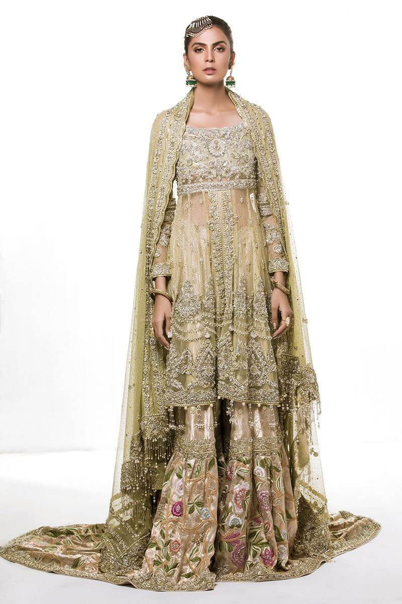 Mint green front open with farshi gharara and dupatta