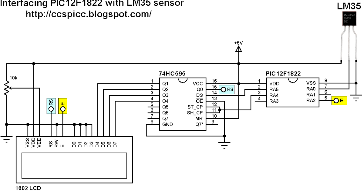 interfacing pic12f1822 with 1602 lcd and lm35 temperature