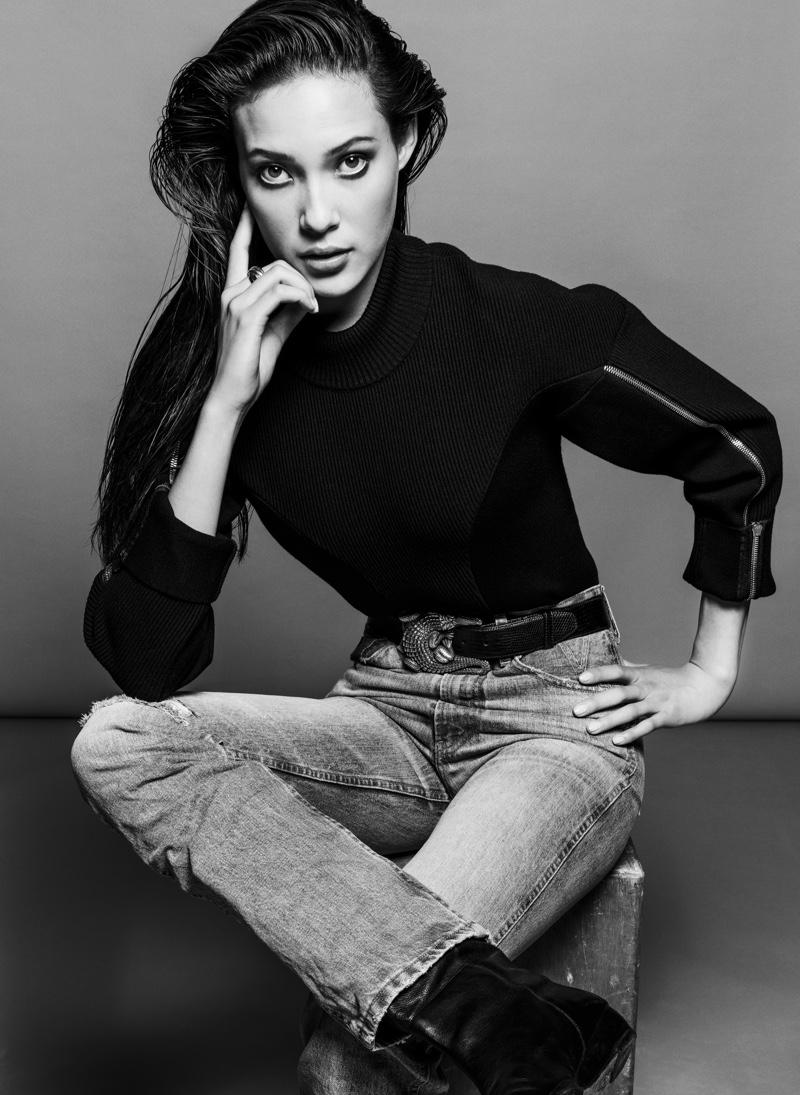 Eileen Gu wears jeans from Lois Jeans + V Denim. Image: Courtesy of V Magazine / Inez & Vinoodh