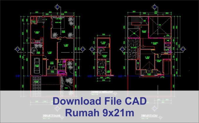 download rumah 9x21 File AutoCad