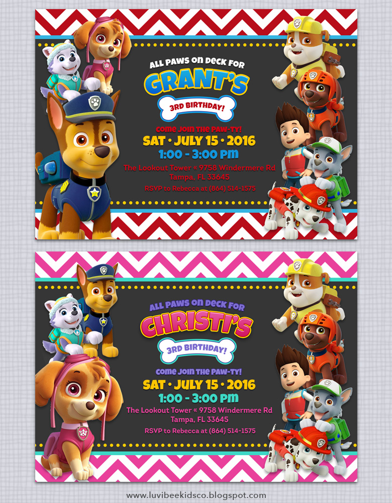 Paw Patrol Birthday Invitations + Free Printables ...