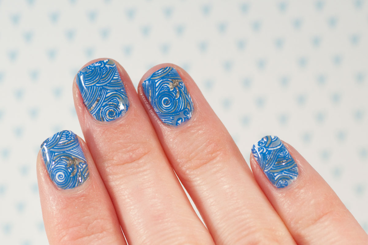Ocean waves nail art with Petla plates stamping design