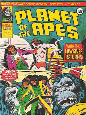 Marvel UK, Planet of the Apes #90, the Lawgiver is shot with an arrow