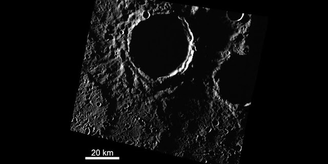 Brown researchers have found new evidence of ice sheets in permanently shadowed craters near the north pole of Mercury. Credit: Head lab / Brown University