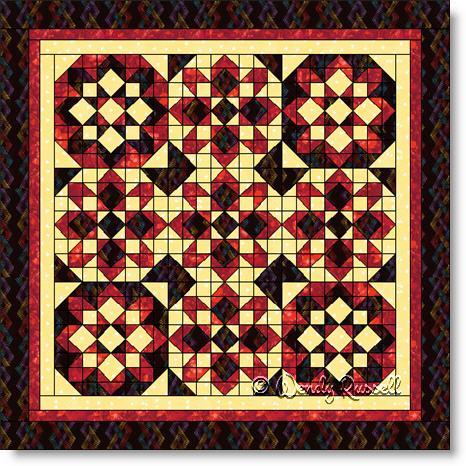 Quilts designed using variations of the STARGLOW quilt block - image © Wendy Russell