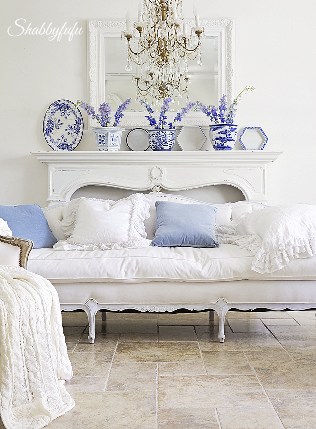 french living room with delphinium