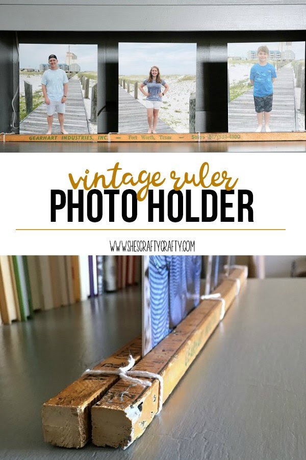 Vintage Ruler Photo Holder- how to decorate with photos