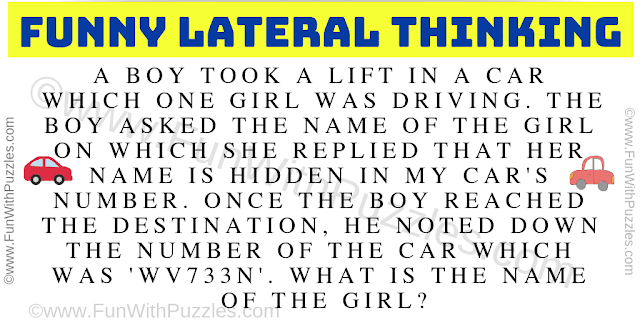 A boy took a lift in a car which one girl was driving. The boy asked the name of the girl on which she replied that her name is hidden in my car's number. Once the boy reached the destination, he noted down the number of the car which was 'WV733N'. What is the name of the girl?