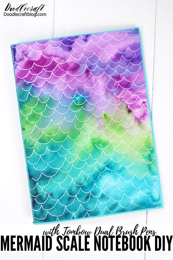 Make a mermaid scale notebook using tombow dual brush pens