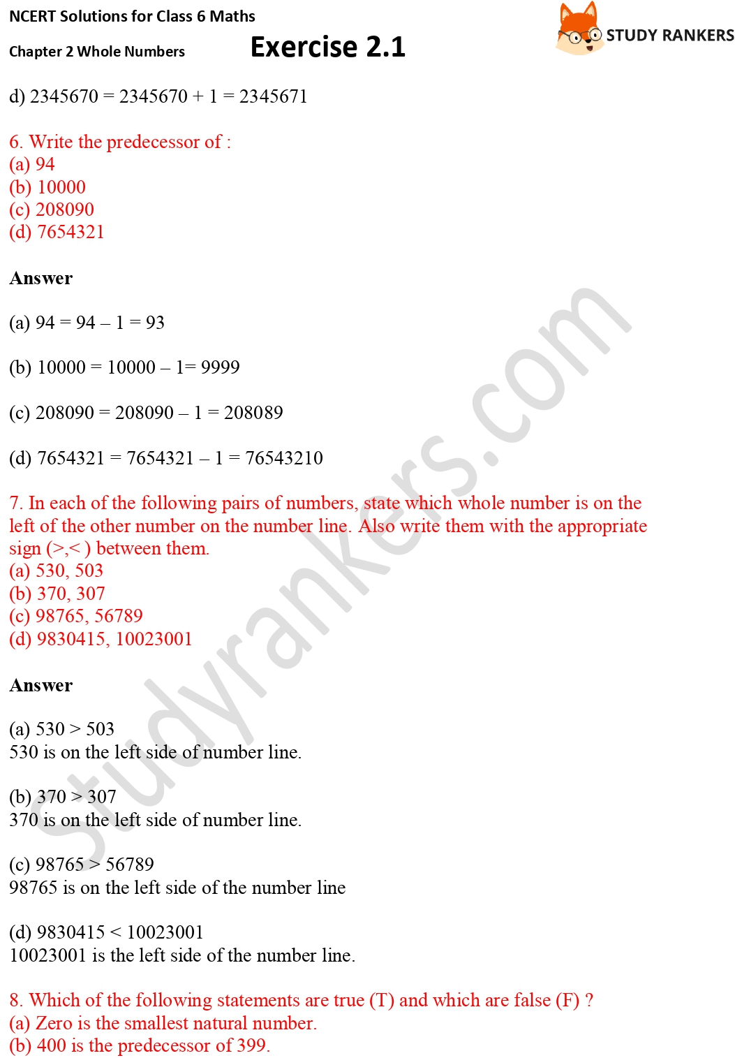 NCERT Solutions for Class 6 Maths Chapter 2 Whole Numbers Exercise 2.1 Part 2