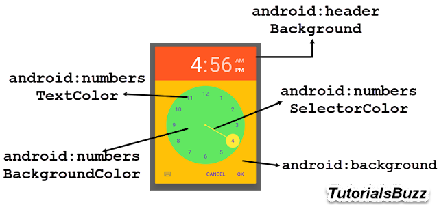 Android TimePicker Dialog Style Theme