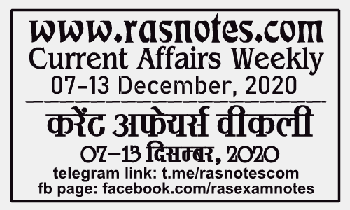 Current Affairs GK Weekly December 2020 (07-13 December) in hindi pdf