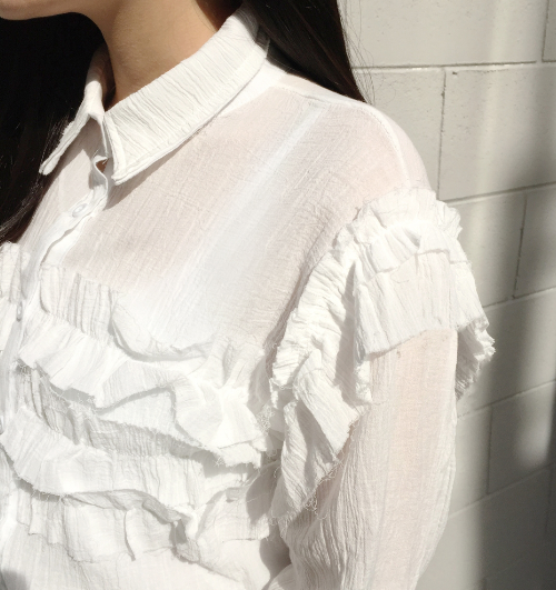 Crinkled Ruffled Accented Blouse