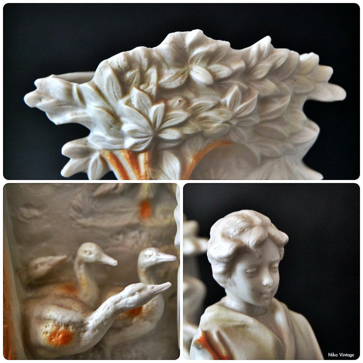 porcelana, Biscuit, francesa, jarron, conjunto escultorico, porcelana Bisculit, figura