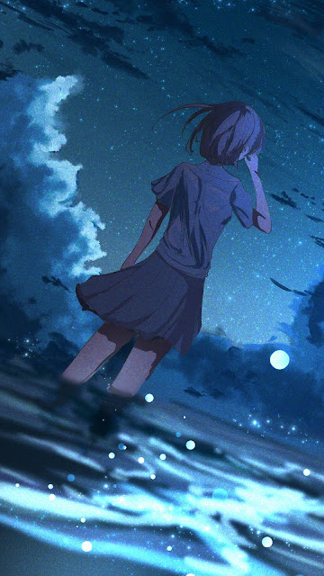 Wallpaper Anime Girl Starry Night Over Over Sea