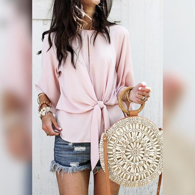 Γυναικεία ροζ μπλούζα SILENSA PUDRA