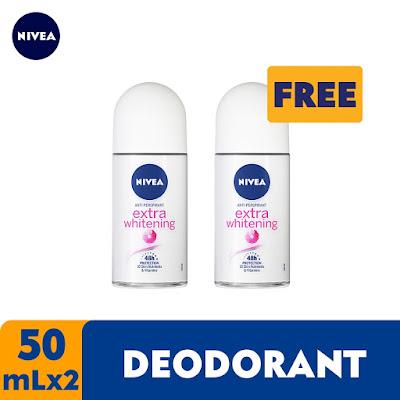 NIVEA Deodorant Whitening Roll On 50ml Bundle of 2
