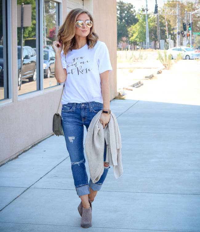 you had me at rose tee with boyfriend jeans and booties