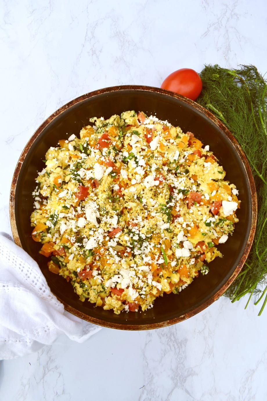 Pan of Greek Scrambled Eggs