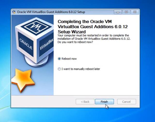 ahora que instalamos los complementos solo debemos dar clic en finalizar ahora les mostrare como abrir el sistema operativo instalado en virtualbox en la pantalla completa