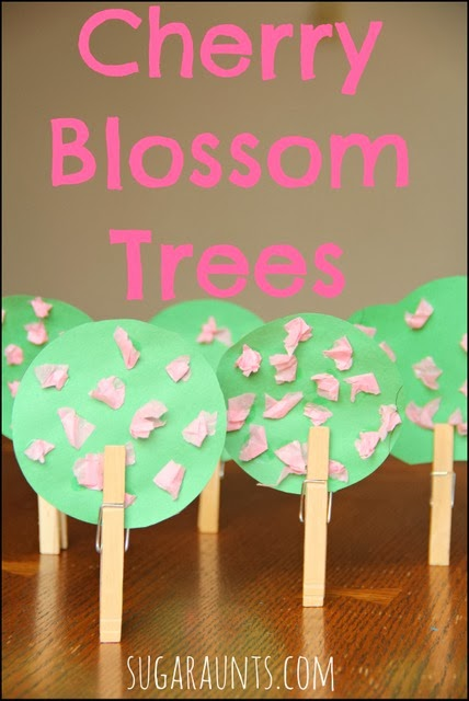 Cherry Blossom Tree craft for kids with fine motor activity