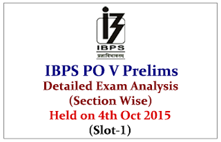 IBPS PO 2015 Prelims Exam Detailed Analysis (Section Wise) Held on 4th Oct 2015 (Slot-1)