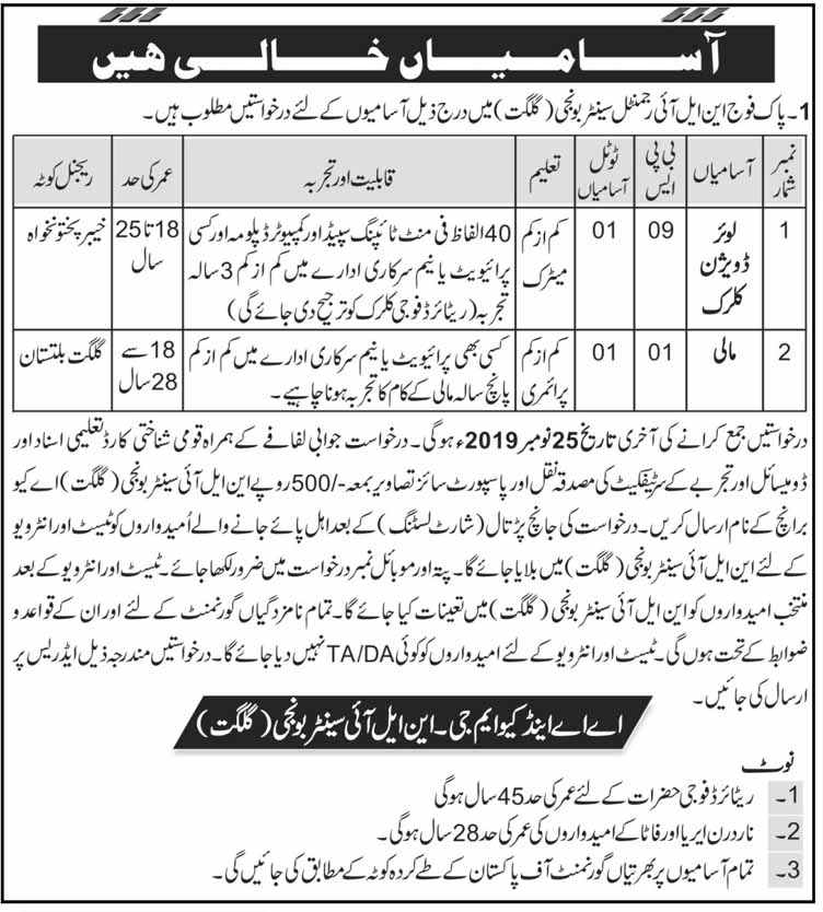 NLI Regimental Center Gilgit 2019 Jobs