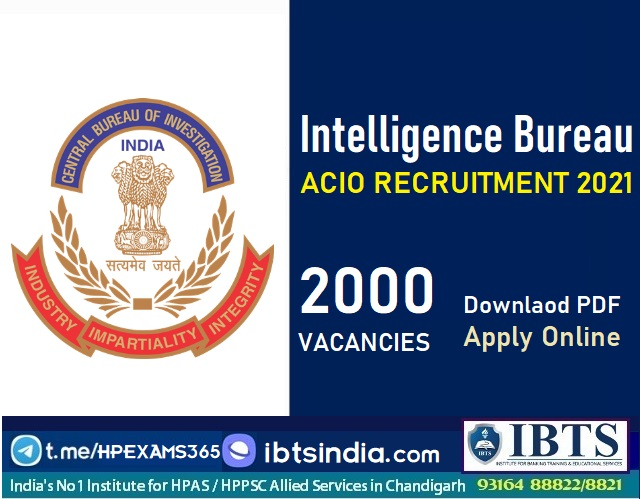 Intelligence Bureau ACIO Recruitment 2021 - Apply Online for IB ACIO 2000 Posts