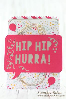 Stampin' Up Stempelnd durchs Jahr; Stampinup Bloghop; Stampinup Meine Party; Einladungskarte 18. Geburtstag; Einladungskarte Geburtstagsparty, Dekoideen Party; Stempel-Biene