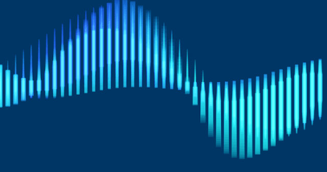 Beautiful wave shape made with Processing programming code.