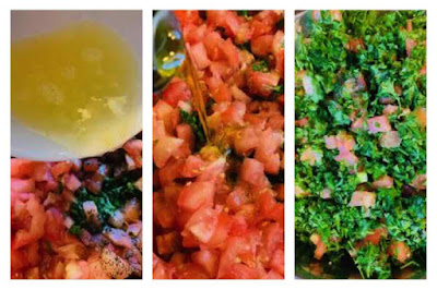 Adding lemon juice and olive oil to a tabbouleh salad.