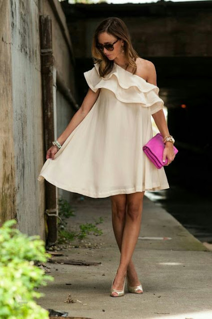 Ruffle-shoulder-white-party-dress