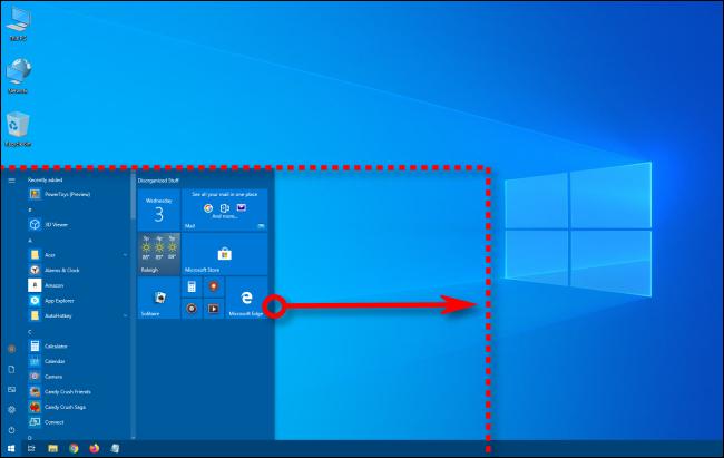تغيير حجم عرض قائمة ابدأ في Windows 10