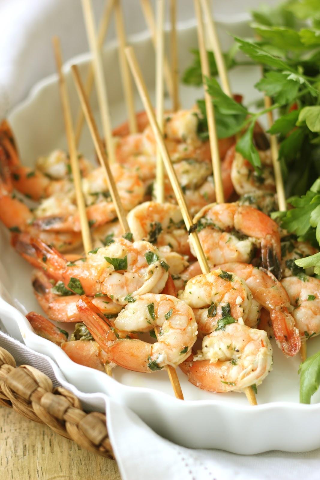 Jenny Steffens Hobick Lemon Basil Grilled Shrimp Skewers