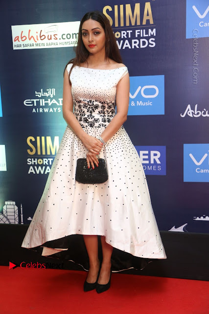 Actress Pooja Salvi Stills in White Dress at SIIMA Short Film Awards 2017  0015