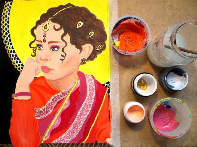 Indian girl acrylic portrait painting process in photos and in a speed painting video.