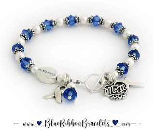 Blue Ribbon In Memory Bracelet for a daughter