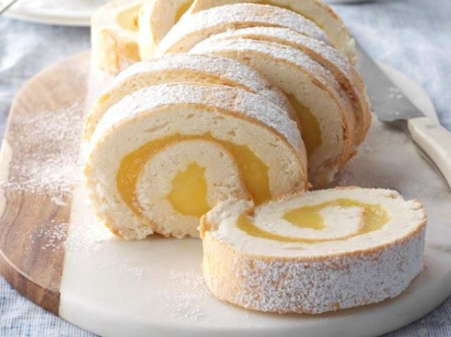 Creamy Lemon Angel Cake Roll #dessert #cake
