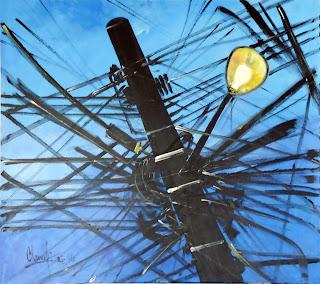 Clameli, Poste azul com lâmpada, acrílico sobre tela