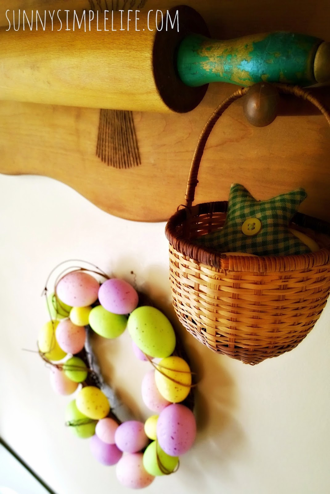 farmhouse Easter decor, green rolling pin, Easter egg wreath