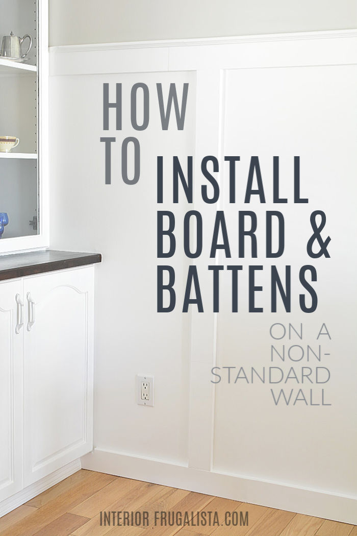 How to install a beautiful board and batten wainscotting accent wall in any room of your home with the formulas for standard and non-standard walls. #diningroomaccentwall #diywainscotting #budgethomeimprovement #farmhousestyle