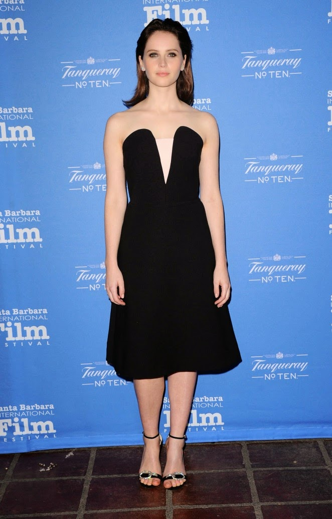 Felicity Jones wears a strapless dress to the 30th Santa Barbara International Film Festival