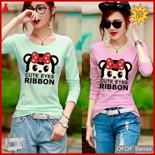 OFDF236 Atasan Blouse Cute Eyes Ribbon Modis BMGShop